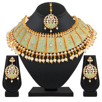 Incredible Gold Plated Pista Color Stone Choker Necklace Set For Women