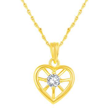 Beautiful Heart Shape Gold Plated CZ Stone Pendant with Chain For Women