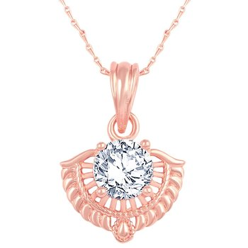 Excellent Designer Rose Gold Plated CZ Stone Pendant with Chain For Women