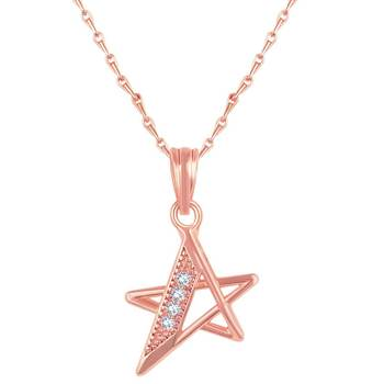 Beautiful Star Shape Rose Gold Plated CZ Stone Pendant with Chain For Women
