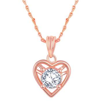 Charming Designer Heart Shape Rose Gold Plated CZ Stone Pendant with Chain For Women