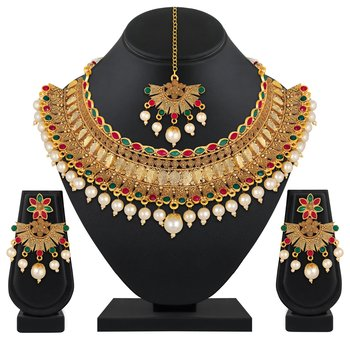Ethnic Wedding wear Gold Plated Multicolor Choker Necklace Set For Women