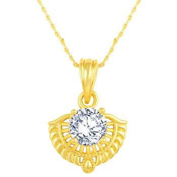 Excellent Designer Gold Plated Cz Stone Pendant With Chain For Women