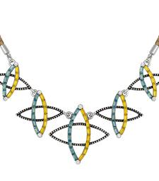 Stylish Silver Plated Multicolor Matinee Style Necklace For Girls And Women