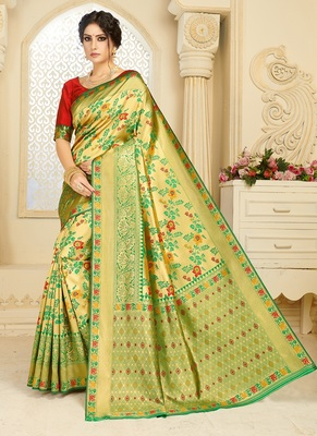 light green woven silk blend saree with blouse
