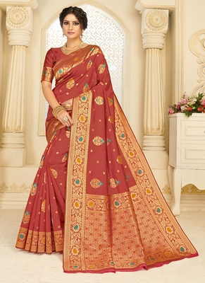 Crimson woven silk blend saree with blouse