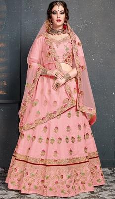 Baby-pink embroidered silk semi stitched lehenga