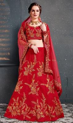 Red Embroidered Silk Semi Stitched Lehenga