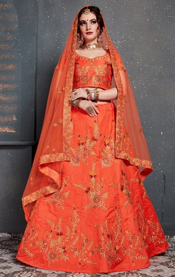 Orange embroidered silk semi stitched lehenga