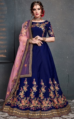 Dark-blue embroidered satin semi stitched lehenga