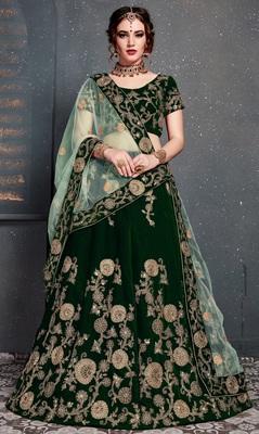 Dark-green embroidered velvet semi stitched lehenga