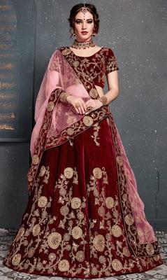 Maroon Dori, Zari and Sequins embroidered velvet semi stitched lehenga choli with dupatta