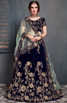 Navy-blue Dori, Zari and Sequins Embroidered velvet semi stitched lehenga choli with duparra
