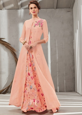 Peach embroidered polyester long kurtis