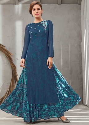 Blue embroidered polyester long kurtis