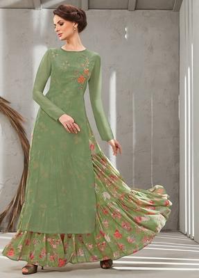 Green embroidered polyester long kurtis