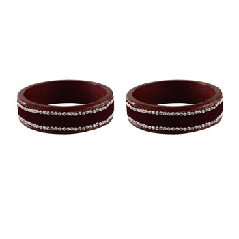 Maroon Stone Stud Lac Bangle For Women