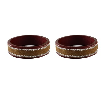 Brown Stone Stud Lac Bangle For Women