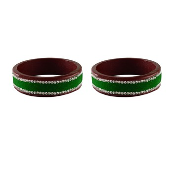 Green Stone Stud Lac Bangle For Women