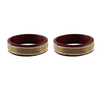 Dark Brown Stone Stud Lac Bangle For Women