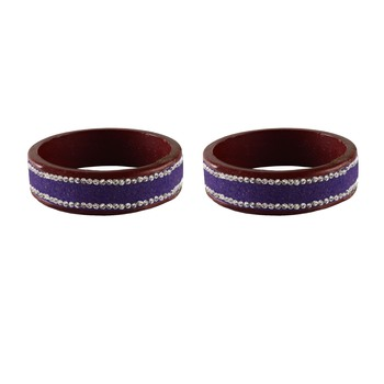 Purple Stone Stud Lac Bangle For Women