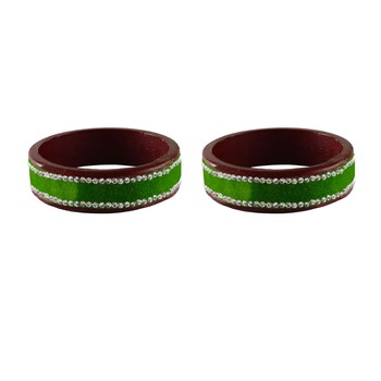 Parrot Green Stone Stud Lac Bangle For Women