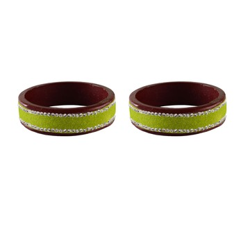 Light Green  Stone Stud Lac Bangle For Women