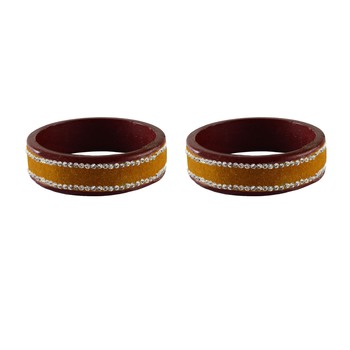Dark Yellow  Stone Stud Lac Bangle For Women