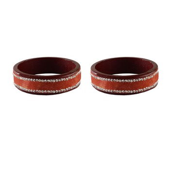 peach Stone Stud Lac Bangle For Women