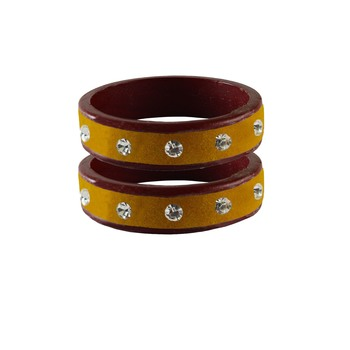 Yellow Stone Stud Lac Bangle For Women