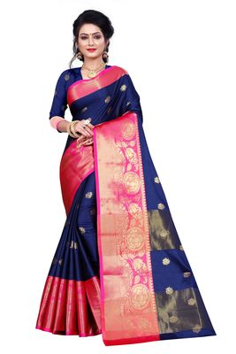 dark blue woven silk blend saree with blouse