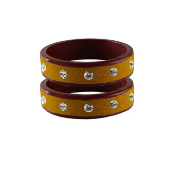 Light Brown  Stone Stud Lac Bangle For Women