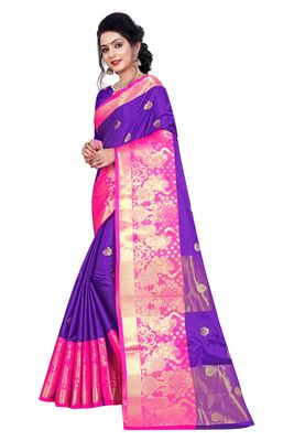 violet woven silk blend saree with blouse