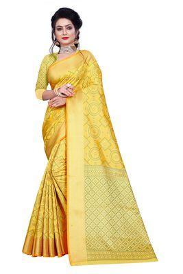 gold  woven banarasi silk saree with blouse