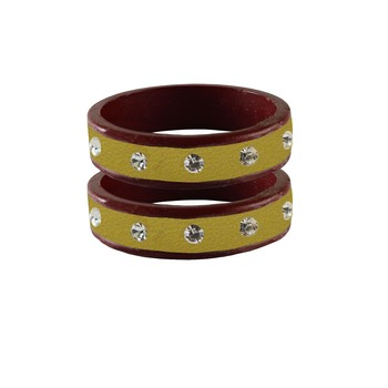 Light Goden Stone Stud Lac Bangle For Women