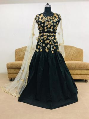 Black embroidered silk unstitched lehenga