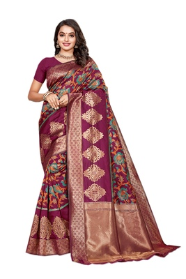 Purple woven banarasi saree with blouse