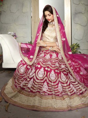 Rani-pink embroidered net semi stitched lehenga