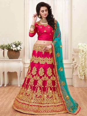 Light-red embroidered silk semi stitched lehenga