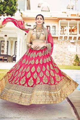 Light-red embroidered net semi stitched lehenga