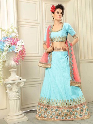 Sky-blue embroidered silk semi stitched lehenga