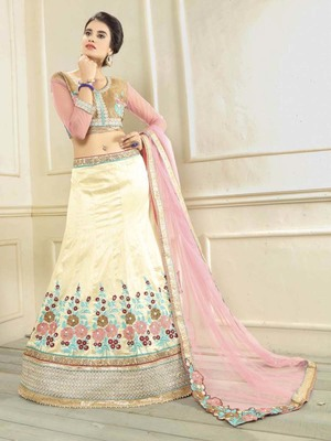 Off-white embroidered silk semi stitched lehenga