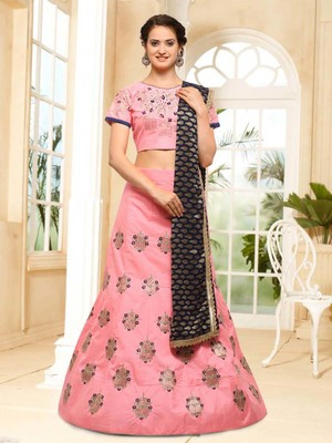 Baby-pink embroidered silk semi stitched lehenga