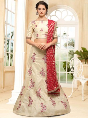 Beige embroidered silk semi stitched lehenga