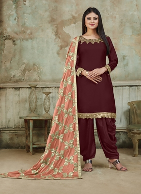 Maroon embroidered santoon salwar