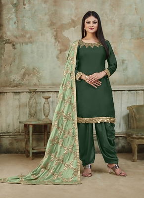 Dark-green embroidered santoon salwar