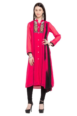 Pink embroidered georgette salwar