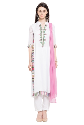White embroidered cotton salwar