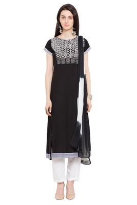 Black embroidered cotton salwar
