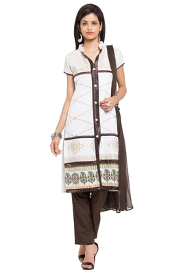White printed cotton salwar